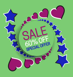 Sale 60 off special offer banner text in frame on vector