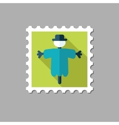 Scarecrow flat stamp with long shadow vector image vector image
