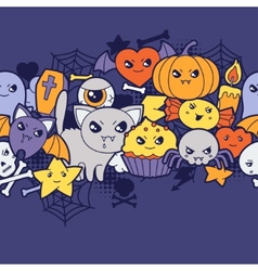 Seamless halloween kawaii pattern with cute vector