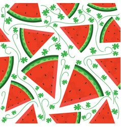 seamless pattern with watermelon slices motif vector image