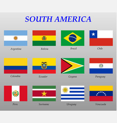 Set all flags south america vector