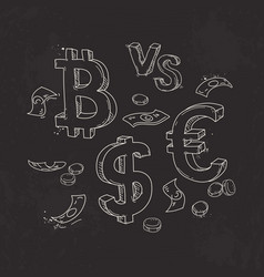 Set of bitcoin the dollar against the euro on a vector