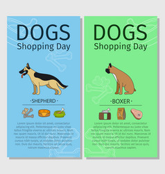 Shepherd and boxer dog shopping day vector