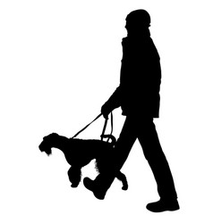 silhouette of man and dog on a white background vector image