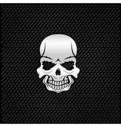 silver skull on metal background vector image