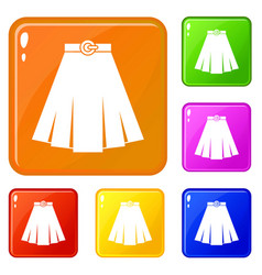 Skirt icons set color vector