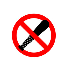 Stop baseball bat no weapon robber red vector