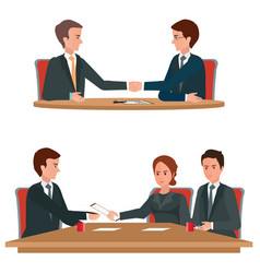 successful business negotiations over a round vector image