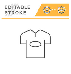 t-shirt editable stroke line icon vector image