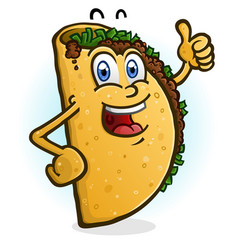 taco cartoon character giving a thumbs up vector image