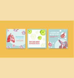 Template design ads with human anatomy lung vector