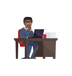 Thoughtful black man working at laptop vector