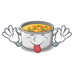 Tongue out cartoon homemade stew soup in the pot vector