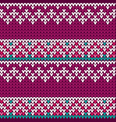 Traditional fair knitted pattern christmas and vector