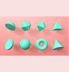 turquoise 3d geometric shapes with golden rings vector image