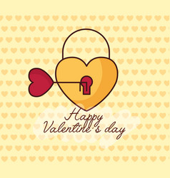 Valentines day celebration with heart padlock vector
