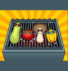 vegetables on bbq pop art vector image