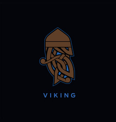 viking head ornament vector image