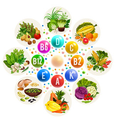 Vitamin source in food fruits and vegetables vector