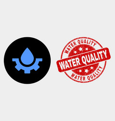 water plumbing gear icon and scratched vector image