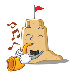 With trumpet sandcastle character cartoon style vector