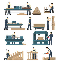 Woodworking carpentry factory set vector