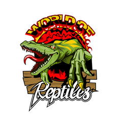 World reptiles logo with a dangerous lizard in vector