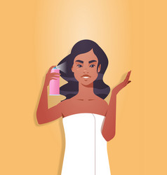 Young woman applying hair spray dressed in towel vector