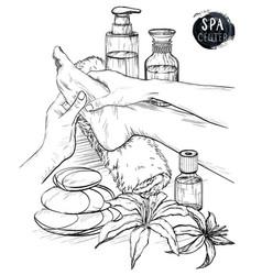 foot massage hands doing foot massage vector image vector image