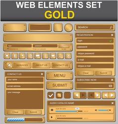 gold web elements set vector image vector image