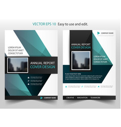 green triangle annual report brochure design vector image vector image