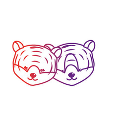 line cute tiger head animal couple together vector image