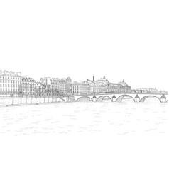 sketch of seine embankment vector image vector image