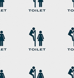 toilet icon sign Seamless pattern with geometric vector image vector image
