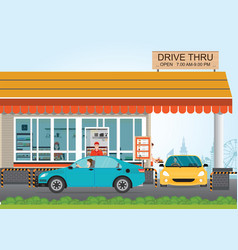 two cars getting food at a drive thru restaurant vector image vector image