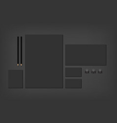 Black brand elements on dark with business cards vector