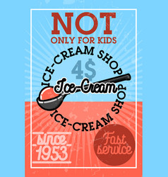color vintage ice-cream banner vector image