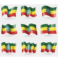Set of Ethiopia flags in the air vector image vector image