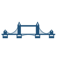 tower bridge blue silhouette isolated on white vector image vector image