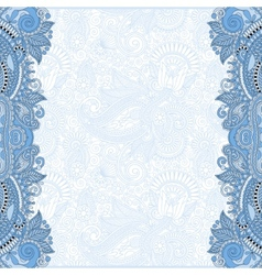 blue colour unusual floral ornamental template vector image