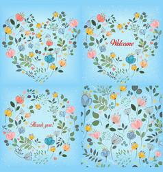 blue watercolor floral patterns set vector image