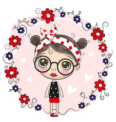 cute cartoon girl and flowers vector image