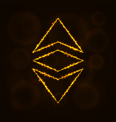 ethereum classic currency silhouette of lights vector image