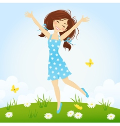 Jumping girl vector image vector image