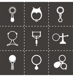 magnifier icon set vector image