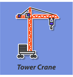 tower crane color flat icon vector image vector image