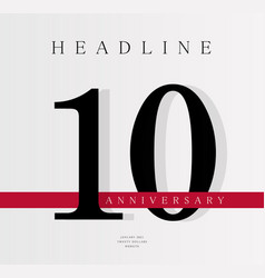 10th anniversary banner template journal cover vector image