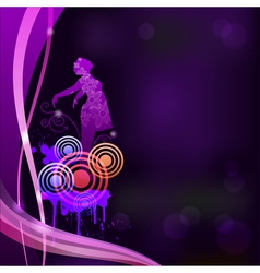 Abstract background with a silhouette of a girl ep vector image vector image