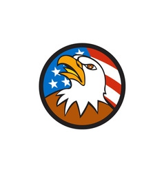 American Bald Eagle Head Looking Up Flag Circle vector