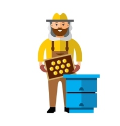 Apiary Beekeeper Flat style colorful vector image
